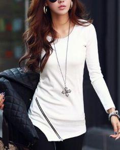 Tight asymmetrical t shirt for women oblique zipper t shirts