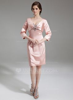 Sheath/Column Sweetheart Knee-Length Charmeuse Mother of the Bride Dress With Ruffle Beading (008006443)