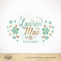 Hand drawn Premade Logo Watercolor Calligraphy Floral Design for Photography & Boutique via Etsy