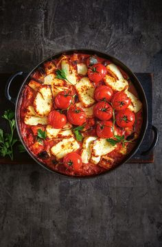 Cosy up with our french style chickpea ratatouille and haloumi bake. Veggie Recipes, Whole Food Recipes, Vegetarian Recipes, Cooking Recipes, Healthy Recipes, Recipes Dinner, Vegetable Dishes, Food Inspiration, Yummy Food