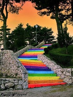 Outdoor Neon Rainbow of Stairs!