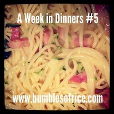 Quick and Tasty: Courgette Carbonara - Bumbles of Rice Yummy Food, Tasty, People Eating, Meals, Dinners, Meal Planning, Dinner Recipes, Rice, Ethnic Recipes
