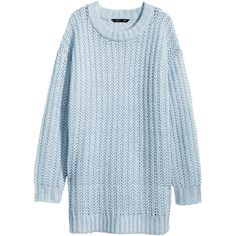 H&M Knitted jumper (325 UAH) ❤ liked on Polyvore featuring tops, sweaters, dresses, jumper, light blue, acrylic sweater, light blue sweater, h&m, long length sweaters and long blue sweater