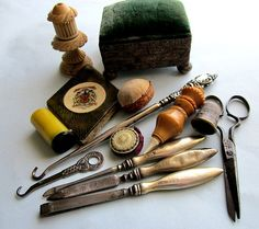 Vintage pin cushions scissors Silver Button hook manicure implements sewing lot