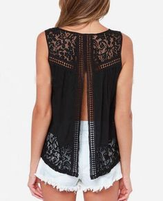 Doreen Women's Lace Shirts Lades Summer Casual Sleeveless Blouse Split Back Tee Top Black S