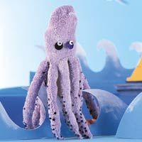 octopus sock puppet.  Takes both socks.  Cut 8 equal size slits in two socks.  Cut the strips off one sock and sew them to the back side of the tentacles on the other sock, forming tubes, leaving an opening.  Stuff the tentacles with batting and sew closed.  Embellish tentacles with sequins and add eyes.