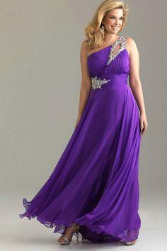 Elegant One Shoulder Flowing Keyhole Pleated Beaded Empire Green Chiffon Prom Dresses Plus Size_3.jpg (981×1472)