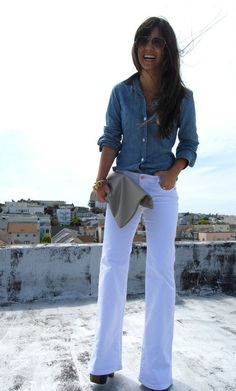 White jeans, denim button down top, leather belt, straw hat,   Preppy casual outfits, fashion  clothes enough, mine LK