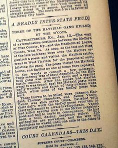 """Historic Newspaper with coverage of the Hatfield-McCoy feud: New York Times, January 13, 1888 """"A Deadly Inter-State Feud - Three of the Hatfield Gang Killed by the M'Coys"""""""