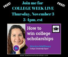 Scholarship Expert, Monica Matthews, shares how she helped her son win over $100,000 in scholarships on the College Week Live scholarship webcast.