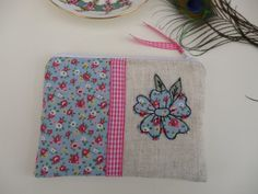 Handmade Coin Purse Makeup bag, Cath Kidston Ditsy Blue Floral Fabric Flower Applique Embroidered