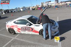 Installing a #YELLOWTOP in Mike Langford's Subaru BRZ at the 2014 #SEMAShow in Las Vegas