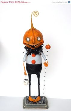on sale Halloween Pumpkin Man with Curly por cortneyrectorFOLKART, $140.00