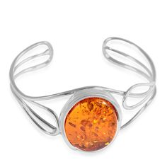 Liquidation Channel: Baltic Amber Cuff in Sterling Silver (Nickel Free)