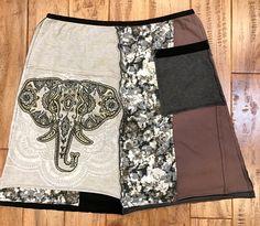 Boho chic upcycled skirt, upcycled clothing, T shirt skirt upcycled, eco organic clothing, women's upcycled skirt, recycled clothing by Theupcycledcloset on Etsy