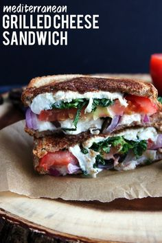 Mediterranean Grilled Cheese Sandwich | feta cheese, onions, tomato, kale, and olives make for one tasty sandwich!
