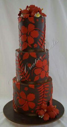 Brown & orange tropical flowers cake
