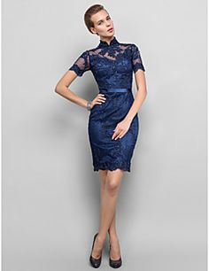 Cocktail Party / Homecoming / Holiday Dress - Dark Navy Plus Sizes / Petite Sheath/Column High Neck Knee-length Lace