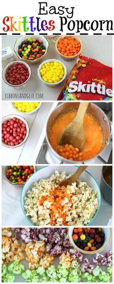 Easy Skittles Popcorn How to make Skittles Popcorn. Skittles candy melted on popcorn taste just like the flavor color! So easy to make and super yummy! Candy Popcorn, Flavored Popcorn, Gourmet Popcorn, Popcorn Balls, Candy Coated Popcorn Recipe, Candy Apples, Snacks, Snack Recipes, Dessert Recipes