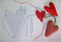 """Hello my dears! Colorful crochet hearts made in just 20 minutes! A super easy DIY project you can get ready in time for Valentine's Day. This is my project for the """"Crochet Hearts Friendly Challenge # Crochet Chart, Love Crochet, Crochet Motif, Crochet Flowers, Knit Crochet, Crochet Patterns, Single Crochet, Art Textile, Yarn Crafts"""