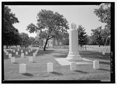 REAR ELEVATION OF GENERAL HENRY LEAVENWORTH MONUMENT, SECTION 2, WITH CONTEXT, INCLUDING LODGE IN BACKGROUND. VIEW TO NORTHWEST. - Fort Leavenworth National Cemetery, 395 Biddle Boulevard, Leavenworth, Leavenworth County, KS