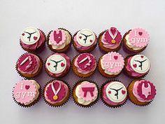 Gymnastics Cupcakes (Fairy Dust Bakery) Tags: birthday pink cake medal cupcake gymnastics ribbon vault leotard fondant picmonkey:app=editor