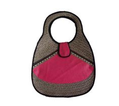 HAND-BAG MADE FROM WOVEN ARROW CANE WITH A SYNTHETIC LEATHER DESIGN.