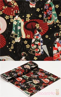 black cotton sheeting fabric with geishas, sakura flower etc., with metallic gold embellishment, Material: 100% cotton, Fabric Type: smooth cotton printed sheeting fabric #Cotton #People #Metallic #JapaneseFabrics