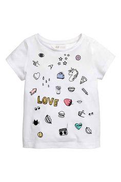 Tričko spotlačou - biela/jednorožec - DETI | H&M SK