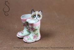 OOAK Dollhouse Miniature Cat  in Boots Head TurnsHandmade Animals 1:12 scale #Handmade