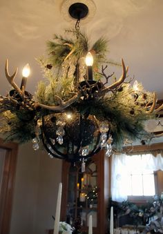 antlers in chandelier  Antlers are available from our permanent collection at The Christmas Shop, The Barn Nursery, Chattanooga, TN