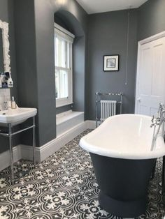 Tiles are something that can make or break a Victorian bathroom design. Opt for … Tiles are something that can make or break a Victorian bathroom design. Opt for stunning patterned floor tiles to replicate the period look. Victorian Bathroom, Vintage Bathrooms, Modern Bathroom, Small Bathroom, Bathroom Grey, Minimalist Bathroom, Master Bathroom, Bathroom Colors, Victorian Toilet