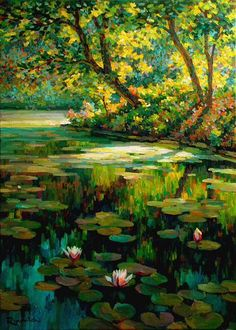 Overgrown pond by Sergey Volkov Fantasy Art Landscapes, Fantasy Landscape, Landscape Art, Landscape Paintings, Lily Painting, Painting Abstract, Acrylic Paintings, Water Art, Watercolor Landscape
