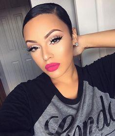 66 Ideas Makeup Looks Dark Lipstick Pink Lips Makeup On Fleek, Flawless Makeup, Gorgeous Makeup, Love Makeup, Makeup Tips, Makeup Looks, Simple Makeup, Natural Makeup, Natural Beauty