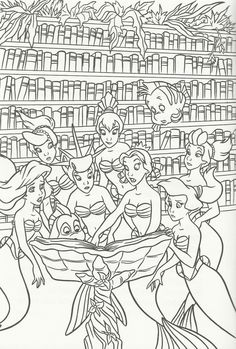 zeichnen The girls and their fish friends Flounder and Hummer Disney Princess Coloring Pages, Disney Princess Colors, Mermaid Coloring Pages, Cute Coloring Pages, Colouring Pics, Cartoon Coloring Pages, Coloring Books, Coloring Sheets, Ariel Color