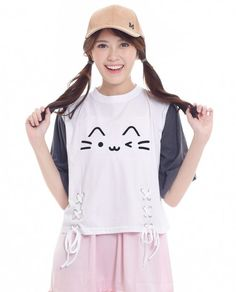 f8f1edf6c75cf Kawaii cat crop top white t-shirt with colorblocked sleeve in gray.