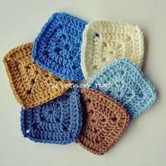 The Patchwork Heart: Colour Recipes  Stylecraft Special DK in cream aster camel denim mocha and cloud blue