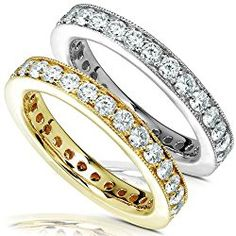1 Carat TW Round Diamond Eternity Band Set in 14K White or Yellow Gold