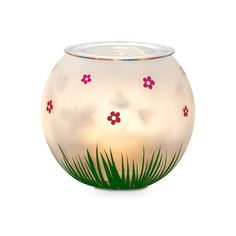 Fluttering Friends Tealight Holder $20 P91561 Candlelight brings colorful critters to life! When lit the decorated inner cup creates the illusion of movement on the outer frosted globe. Painted grass and blossom details add to the garden charm www.partylite.biz/ambercory #partylite #candles #spring