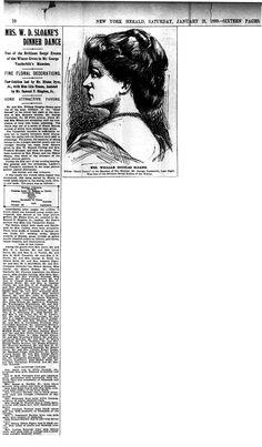 New York Herald (21 Jan 1899) Mrs. W. D. Sloane's Dinner Dance. She was Consuelo Vanderbilt's aunt, the former Emily Thorn Vanderbilt