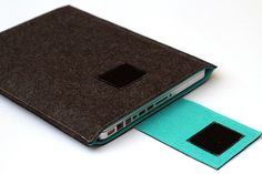 "13"" inch Apple Macbook Pro laptop Sleeve Case Cover - Dark Gray & Turquoise - Weird.Old.Snail. $32.00, via Etsy."