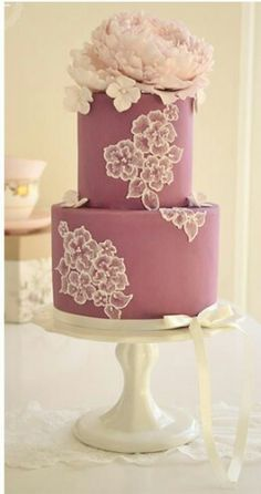 Brush Embroidery & Peony Cake, By Cotton & Crumb Fondant Wedding Cakes, Wedding Cakes With Cupcakes, Fondant Cakes, Fondant Bow, 3d Cakes, Fondant Tutorial, Fondant Figures, Gorgeous Cakes, Pretty Cakes