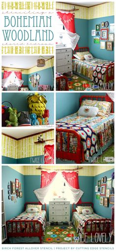 Cutting Edge Stencils shares a Bohemian Woodland themed shared bedroom using the Birch Forest Allover pattern. http://www.cuttingedgestencils.com/allover-stencil-birch-forest.html  #bedroom #stenciling