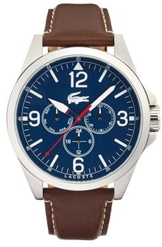 c5bacc1f941 Lacoste  Montreal  Round Leather Strap Watch