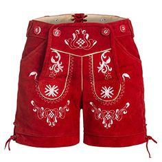 #Damen #Trachten #Lederhose mit #Trägern #Rot #34 - Damen Trachten Lederhose mit…