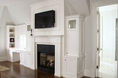 Fireplace TV Built Ins, Traditional, bedroom, Designer Friend – Dresser Decor Tv Over Fireplace, Fireplace Built Ins, Bedroom Fireplace, Living Room With Fireplace, Fireplace Design, Fireplace Mantles, Fireplace Wall, Fireplace Ideas, Mantels