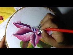 Pintura en tela Orquidea semanario # 4 con cony - YouTube