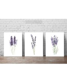 Lavender Flower Painting Canvas Botanical Print Kitchen Wall Decoration Purple and Green set of 3 Lavender Art Prints Minimalist Watercolour