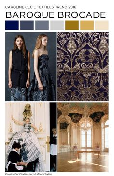 #carolinececiltextiles interior trend inspiration. Baroque Brocade | Textiles | Fashion | Mood Board | Pattern | Textile Trend | SS16 | SS17 | FW16 | SS17 | AW17 | FW17 | spring summer 2016 | autumn winter 2016 | textile design | interior design inspiration | brocade | damask | color trend | megatrends |
