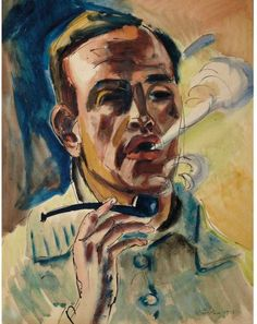Max Pechstein (German, 1881-1955), Self-portrait smoking a pipe, 1929. Ink and watercolour on paper, 53.7 x 41 cm.